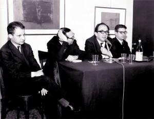 """Una presentazione del libro """"L'amore mio italiano"""" nel 1963 con Alfonso Gatto, Geno Pampaloni ed Enzo Siciliano"""